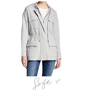Soft Joie Gray Zip Up Utility Jacket